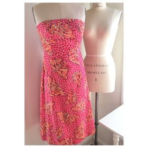 Lilly Pulitzer Strapless Cotton Print Dress size 4